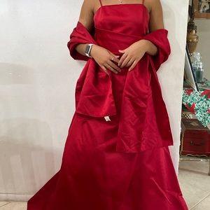 Long Red Dress by David's Bridal